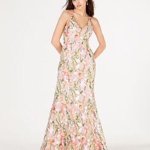 Sequin Hearts Floral Embroidered Formal Dress